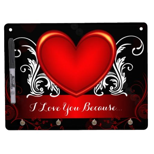 Red Swirly Heart Valentines Day Marriage Helper - This romantic Valentines day dry erase board and key holder has a red shiny heart with swirly white vines, pearls and fading hearts in the background. You can use this gift all year around to leave sweet and heart felt notes for your husband, wife, boyfriend or girlfriend, and spice up your love life as a result!