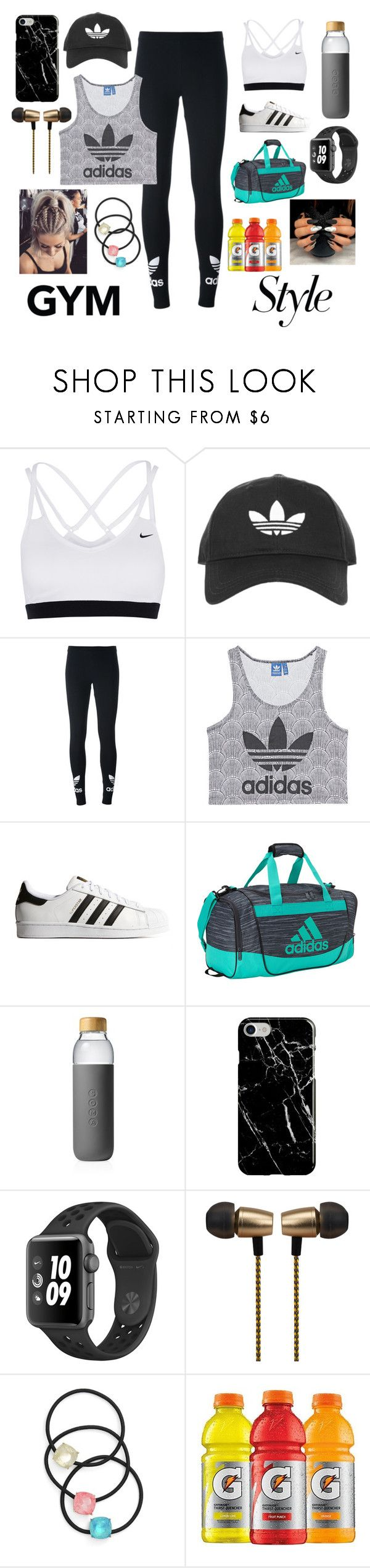 """""""Workout Hour"""" by sofiagarcia-27 ❤ liked on Polyvore featuring NIKE, Topshop, adidas Originals, adidas, Soma, Recover, Cynthia Rowley and Cara"""