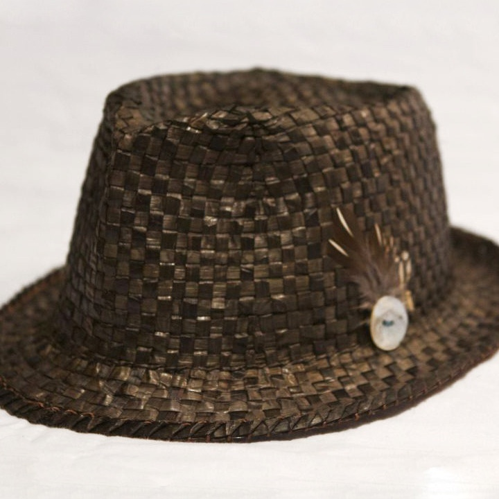 Men's Fedora - This hat was designed and handwoven by Paul Rowley (Tlingit/Haida) using using red cedar, acorn dye, grouse feathers, and an abalone button.