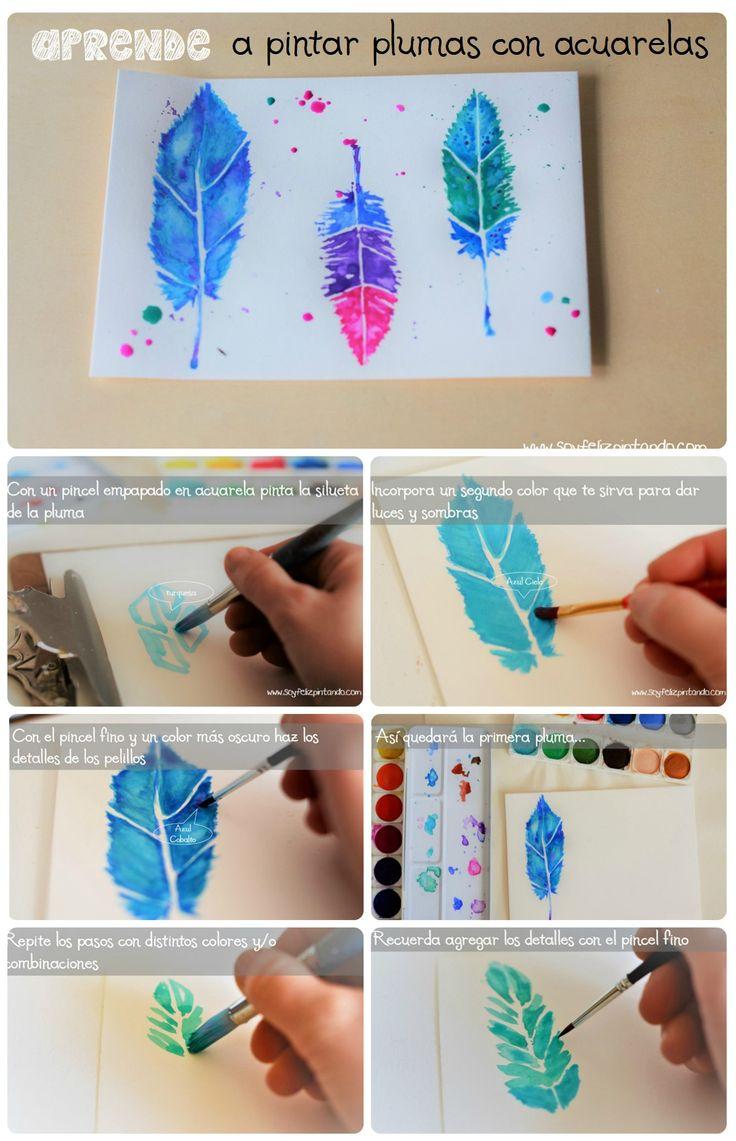 Aprende a pintar plumas con acuarela en 6 sencillos pasos