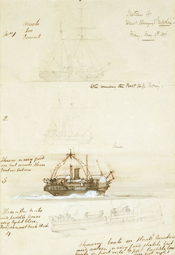Four sketches of HM Survey ship 'Merlin', 9 May 1856 - Oswald Walter Brierly - Royal Museums Greenwich Prints