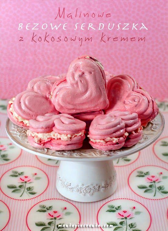 Walentynki, bezy, malinowe bezy, bezy z kremem, krem kokosowy, likier kokosowy, maliny, wykorzystanie białek, ciasteczka, różowe bezy