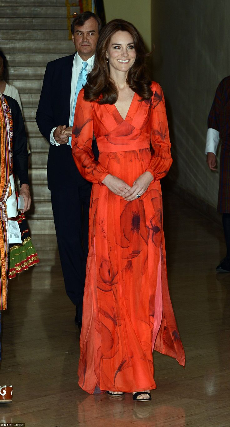 Radiant: The Duchess of Cambridge wore a redBeulah dress for the reception celebrating Britain's relationship with Bhutan