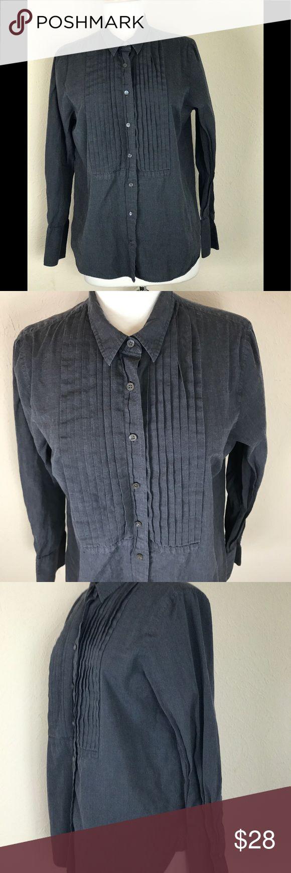 ♻️ J Crew Woman's Button down tuxedo Long Sleeve J crew TuxedoLong sleeve shirt Size 10 Navy Blue Great Condition J Crew Tops Button Down Shirts