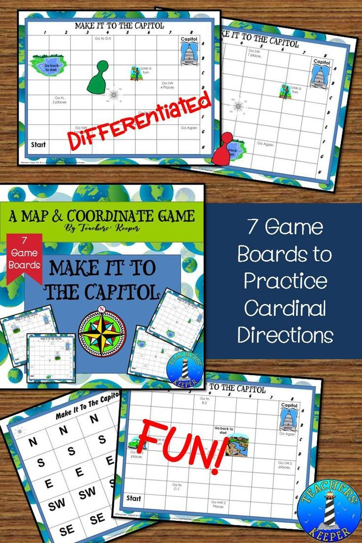 Practice Cardinal Directions And Using A Grid With This Game Students Draw A Directional Card