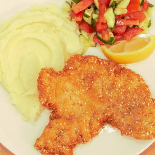 Best thin Israeli chicken schnitzels. Served with Israeli salad and mashed potatoes, it doesn't get better than this!