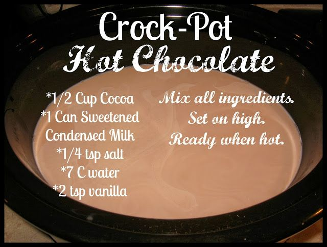 Graceful Little Honey Bee: Crock-Pot Hot Chocolate.  Gotta try this one - the others have been great so far!