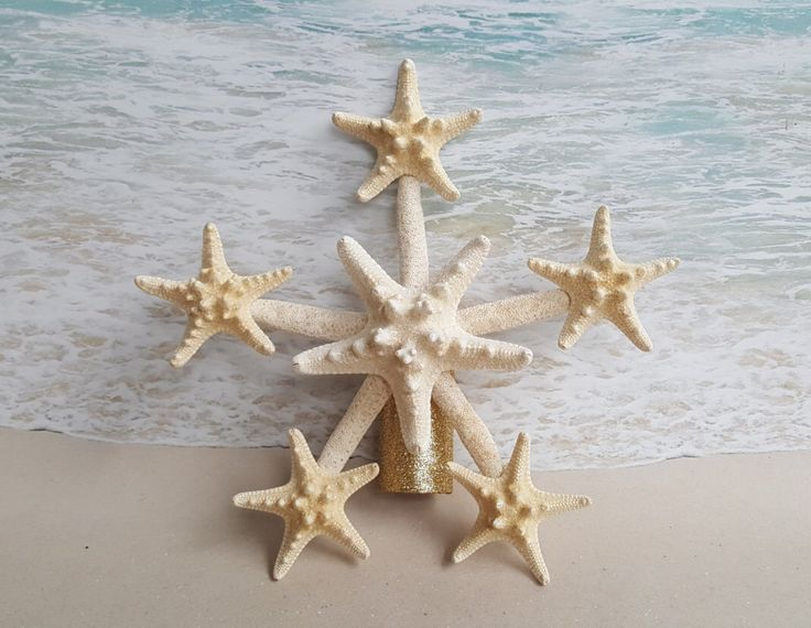 Starfish Tree Topper- Natural, Gold or Silver Glitter - Rustic Coastal Nautical Beach Christmas Ornament Favor Sanddollar by ParadiseBridal on Etsy https://www.etsy.com/listing/484754060/starfish-tree-topper-natural-gold-or