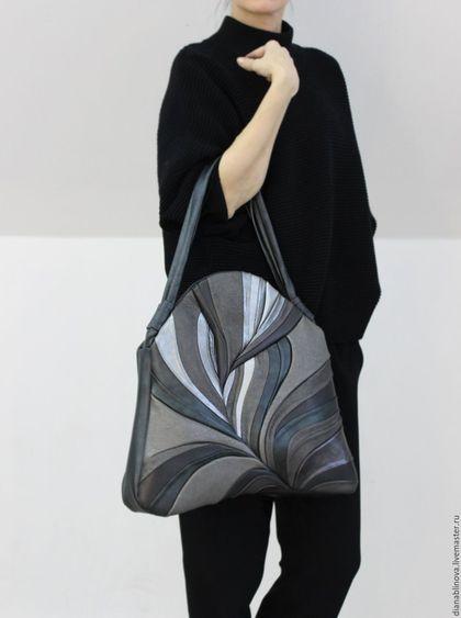 Stylish leather bag / Женские сумки ручной работы. Ярмарка Мастеров - ручная работа. Купить Перо макси серая. Handmade. Однотонный, комбинированный