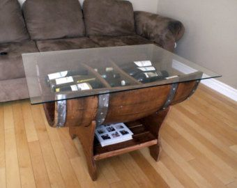 wine barrel coffee table by on etsy