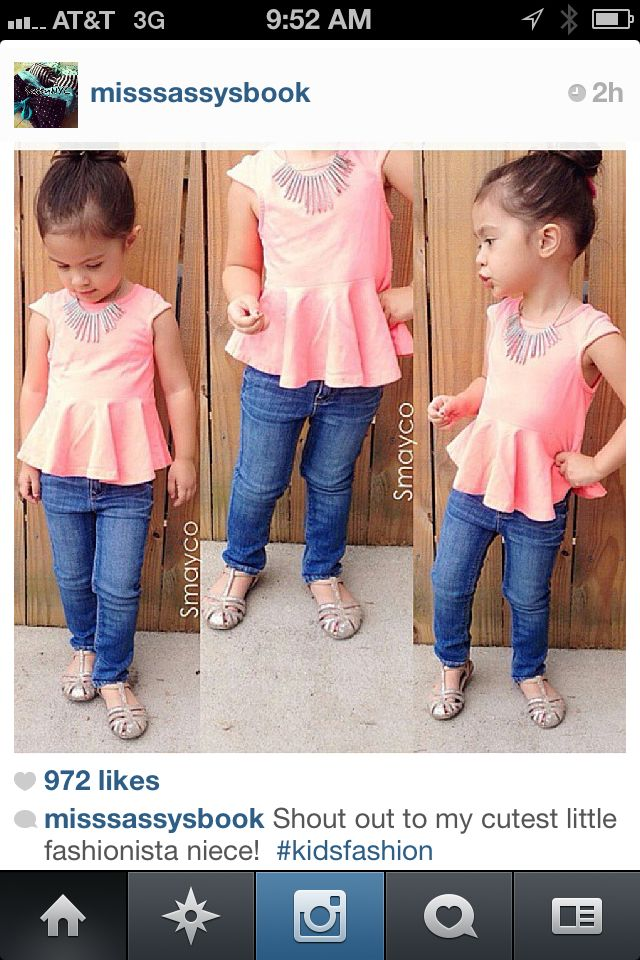 Little girl peplum top and skinny jeans. Totes ADORBS!! Little fashionista. Little girl fashion.