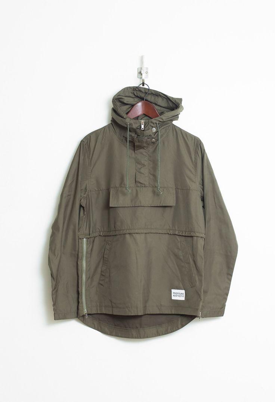 Torpedo Pocket Anorak Pullover Windbreaker Jacket in Olive - Profound Aesthetic - 5