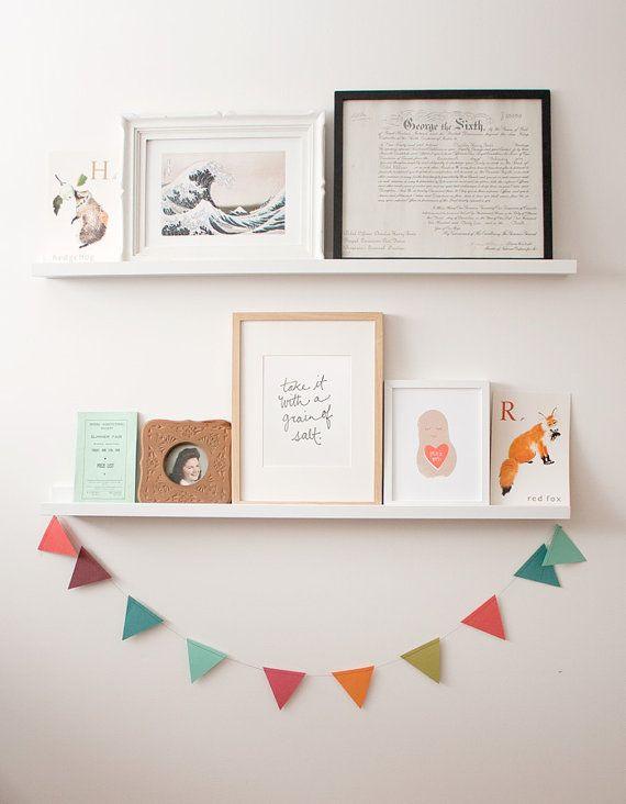 Hang bunting from shelves or bookshelf