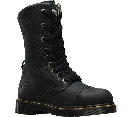 Dr Martens Womens Leah Steel Toe Work Boots Black Leather 7 M UK