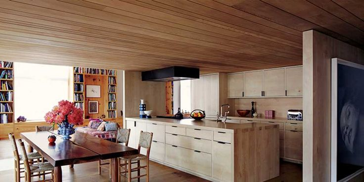 Open Kitchen Design Ideas with wooden ceiling and wooden floor in family friendly kitchen designs