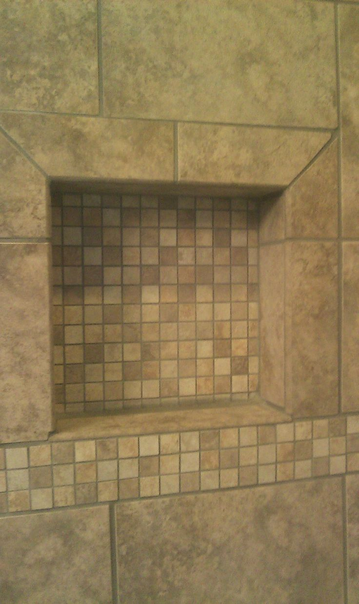 Tile shower shampoo niche maybe our brand in small tile for Bathroom niche design