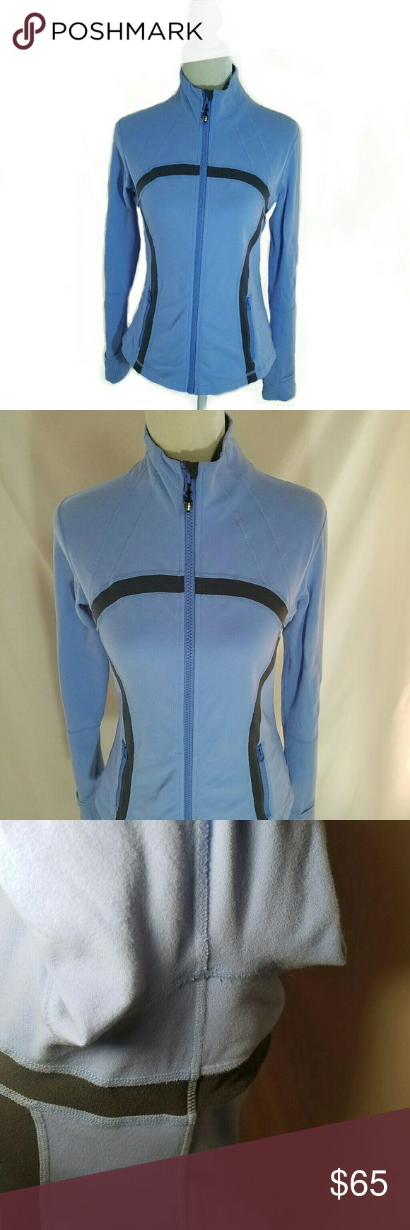 Lululemon Define Jacket Light blue with gray omega. Full on luon. Back vent. Thumb holes and fold over cuffs. Structurally in great condition. There is some pilling (I've definitely seen far worse) see photos. 3rd photo shows armpit under bright light for better detail. lululemon athletica Jackets & Coats