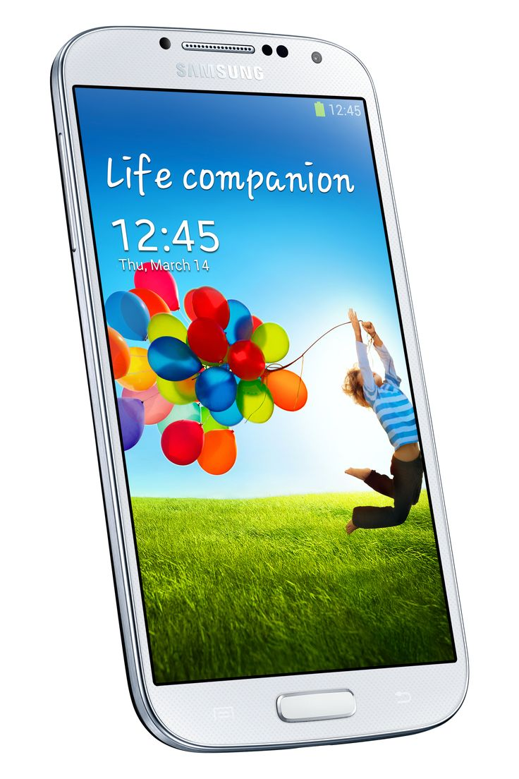 Samsung Galaxy S4 angled and tilted.