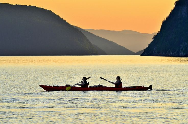 Sunset sea kayaking on Saguenay fjord, Saguenay - Lac-St-Jean, Québec