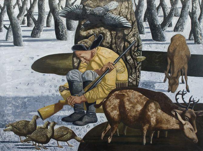 Хамид Савкуев. Уроки жизни и композиции. Спящий охотник. 150 х 200, холст, масло. 2008