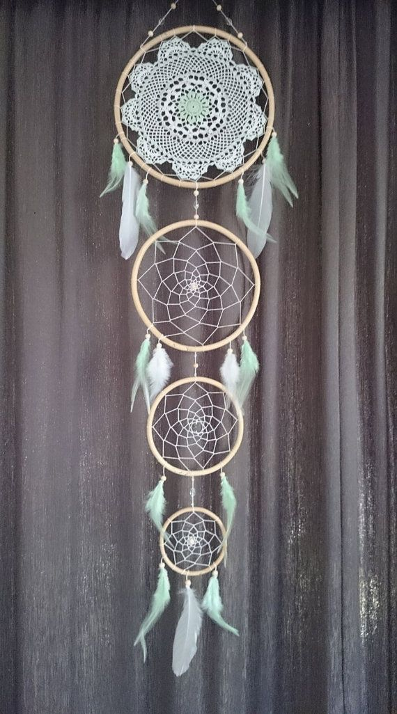 mint green and white dream catcher by CatchYourDreamsAUS on Etsy
