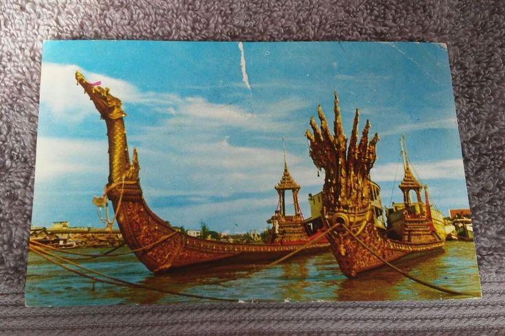Postcard Rppc Bangkok Thiland Chinese 2 Junk Ships celebration of Buddaism