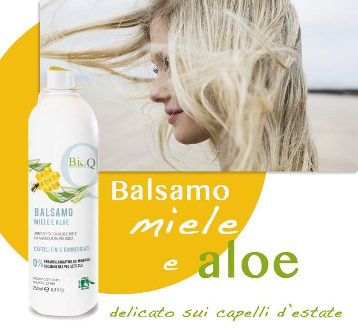Capelli da mare? Dopo la shampoo, il #balsamo #BioQ all'aloe e miele ti aiuterà a districarli meglio rendendoli più morbidi e setosi.  Portalo in #vacanza con te! ☛  #capelli #bio #MadeInItaly