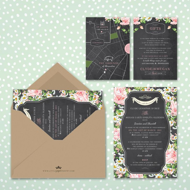 A5 Chalkboard invitation with floral patterned frame and banner design. Recycled kraft envelope and custom map designed for the Grounds, Sydney.