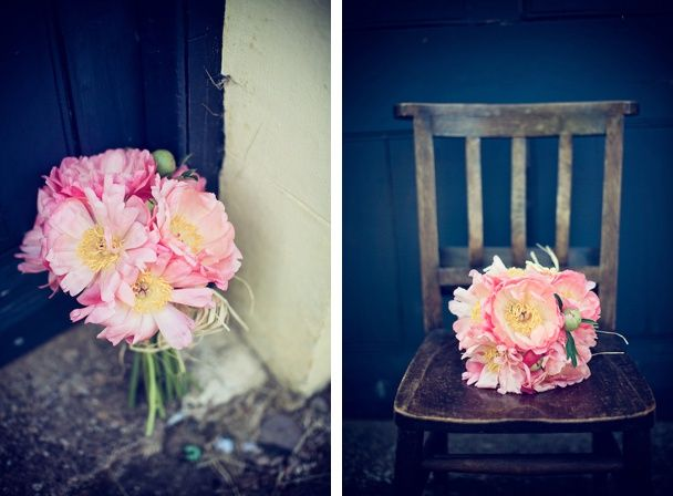 Pink peonies brides bouquet
