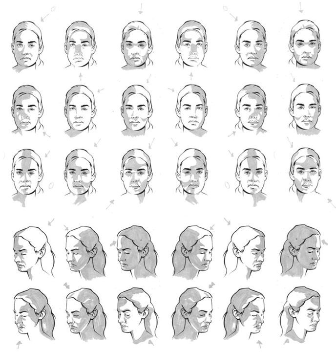 """Character Design References Website : """"face female shading basic planes reference sheet art"""