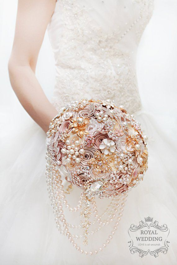 eac2b3d2ae4a2 Rose Gold Wedding Bouquet Blush Pink Ivory Cream Brooch Bouquet Dress Bride  Bridesmaid Bridal Jewelry Keepsake Custom Broach Wedding Bouquet in 2018 ...