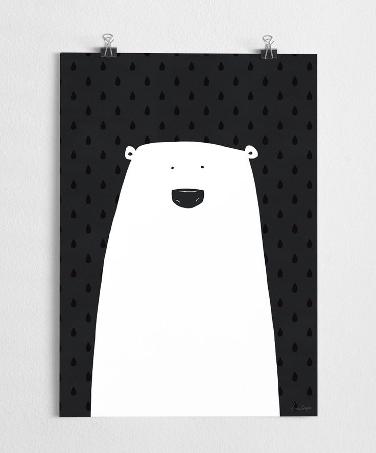 Cute polar bear art print, black and white poster, nursery illustration // Polar