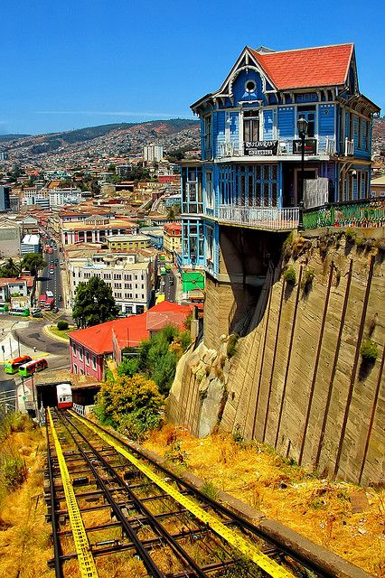 The hanging house and the old cable car in Valparaiso, Chile