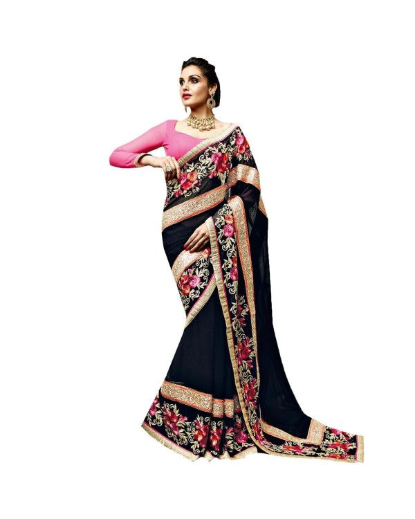 Blue Resham Embroidery Saree To know more or buy, please click Below:- http://www.ethnicstation.com/blue-resham-embroidery-saree-vl1768  ‪   #EthnicWear