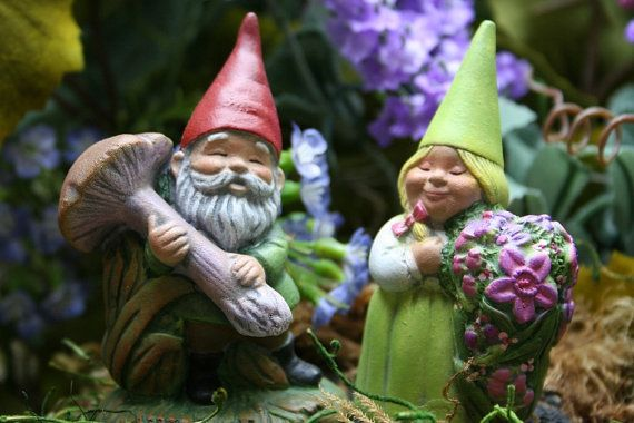 Garden Gnomes - Terrarium Accessories for Your Miniature Fairy Garden via Etsy