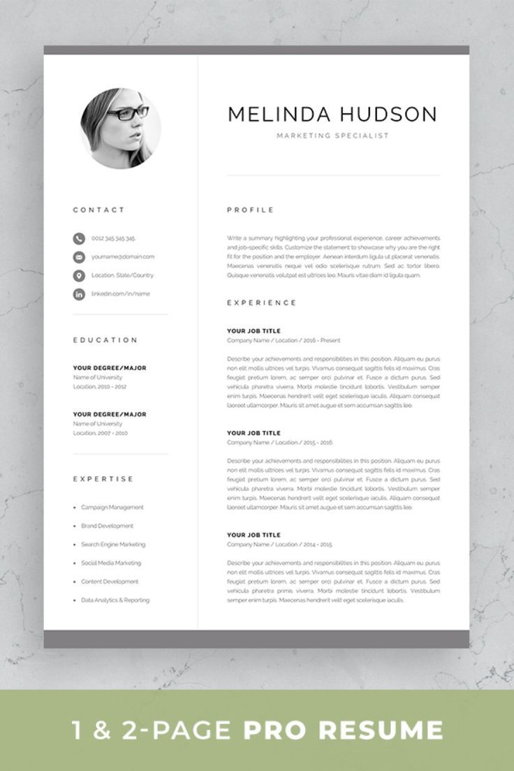 Cv Template With Photo Professional Resume Template For Word Etsy Resume Template Professional One Page Resume Template One Page Resume