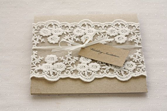Lace wedding invitations - Rustic wedding invitations - pocketfold invites recycled kraft card on Etsy, $9.28