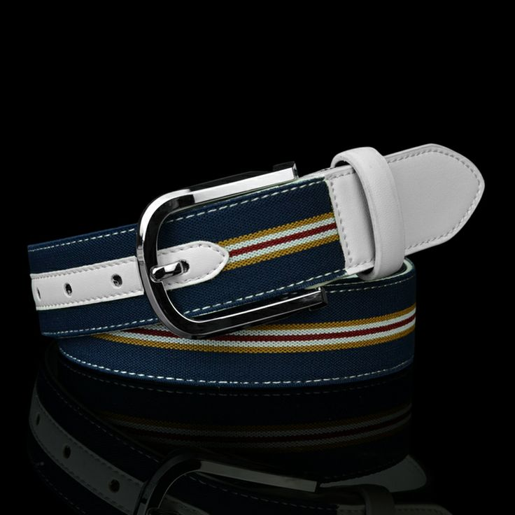 Free Shipping Men Canvas and genuine leather belt alloy pin buckle cowhide leather belt