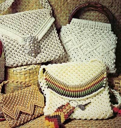 Macrame several purses, including a darling clutch and other handbags.  If I counted right, there are 15 variations of purses in this pattern booklet.  When buying multiple items, please pay with one combined invoice. Just let me know when you'...