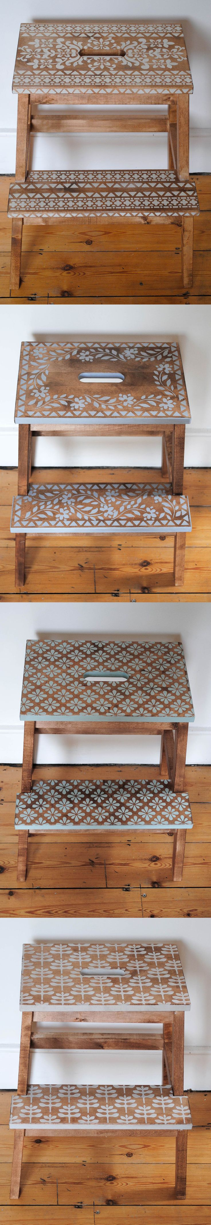 Four ways to stencil an Ikea Step Stool. Stencils and paint from Nicolette Tabram Designs. As seen in #reloved magazine…