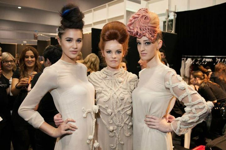 Models from Lorna Evans' braiding demo backstage