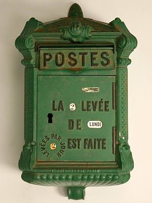 Vintage French Mailbox: Posts Boxes, Postbox, Postal Boxes, Mailboxes, Vintage Green, Vintage Mailbox, French Antiques, Mail Boxes, Letters Boxes