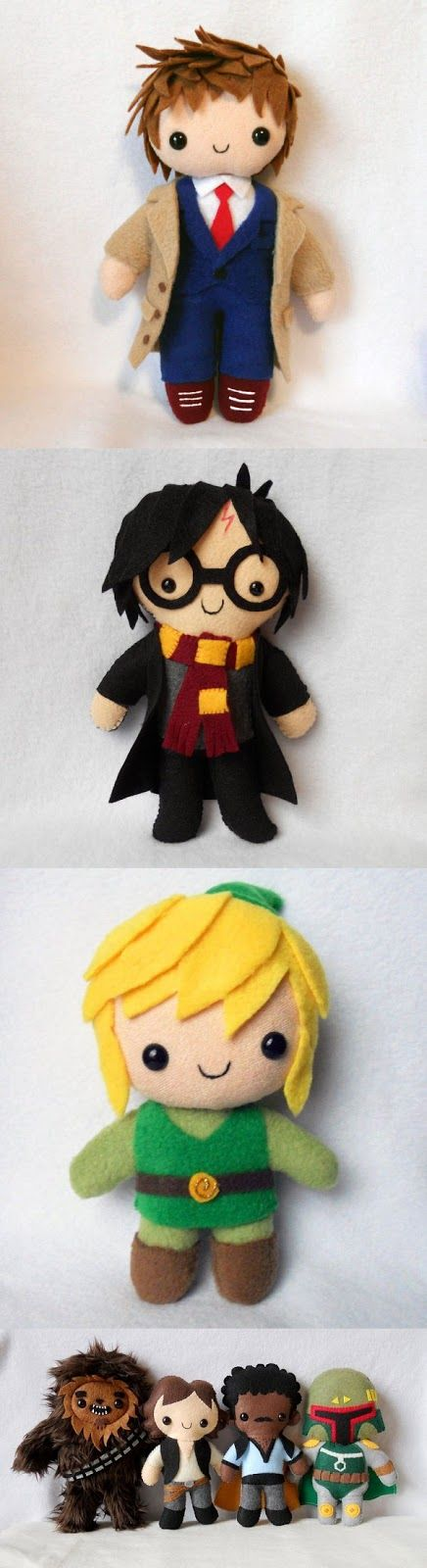 How adorable are these?! No instructions, but what a cute idea for felt dolls for your favorite nerd.