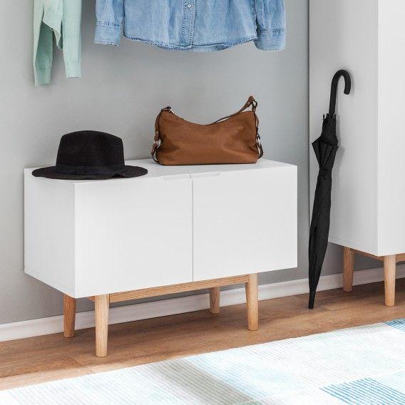 Schuhkommoden Lindholm II - Eiche massiv - Matt Weiß - Fashion For Home