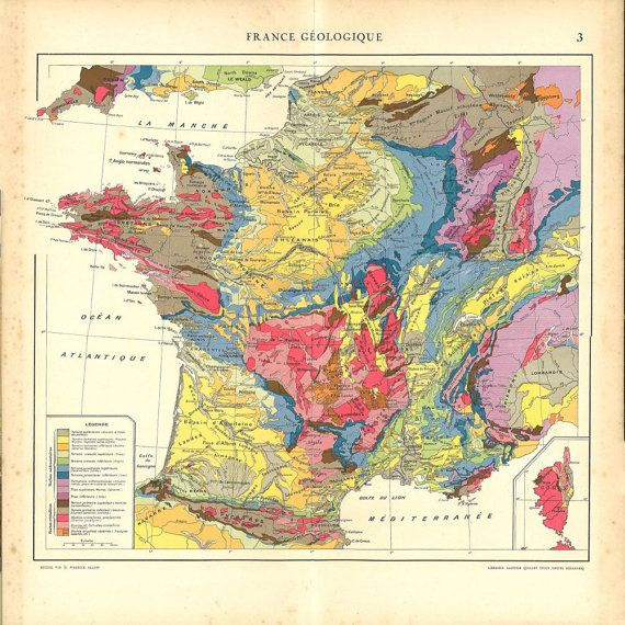 Geologic Map of France 1930s Vintage Print by CarambasVintage