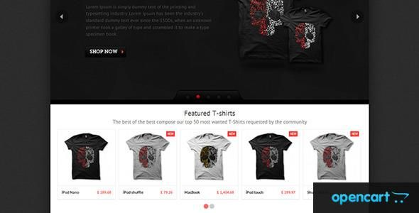 T-shirt is a simple and easy to use OpenCart theme. It can be used as a t-shirt or any kind of store.