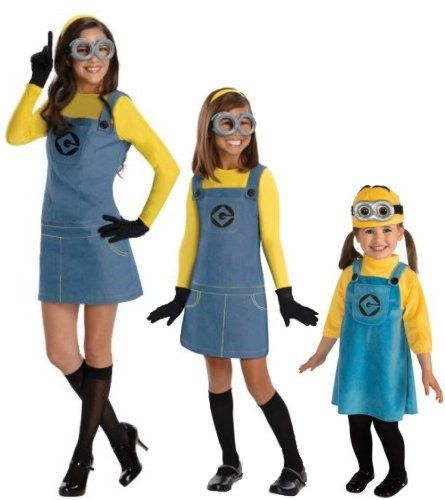 Basic Supplies to Make a Girl Minion Costume 1 Yellow headband or Minion hat 2 Goggles 3 Yellow Turtleneck top 4 Denim Overall Dress or Shorts 5 Black gloves 6 Black knee high socks or black tights 7 Black Shoes Print out Paper Minion Goggles - One Eyed or Two The Despicable Me website has a PDF file that can be downloaded, printed and turned into your own paper minion goggles. The file comes with both a one-eyed version and a two-eyed version.