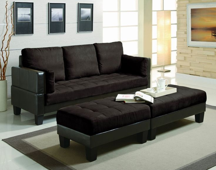 Steal A Sofa Furniture Outlet: Coaster 3000160CH Brown Fabric Sectional Sofa And Ottoman