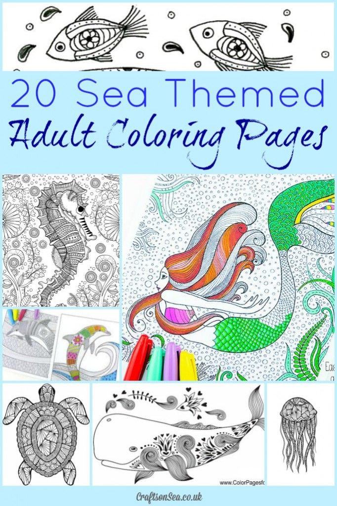 20 Free Printable Sea Themed Adult Coloring Pages