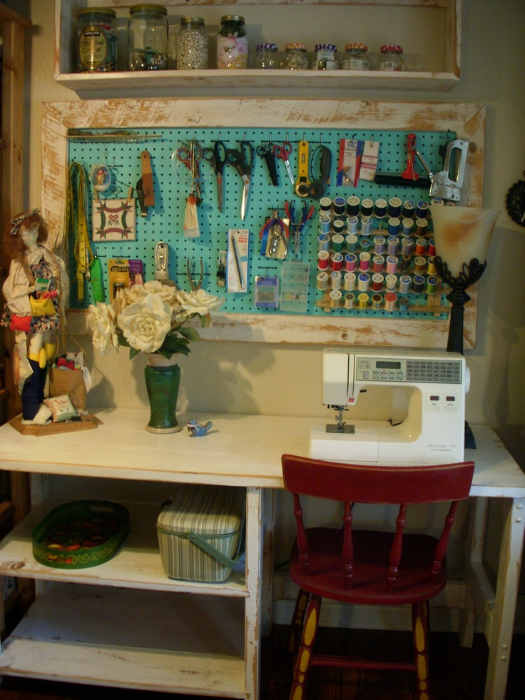 Wood Framed Pegboard - Craft - Art Supply Storage - Sewing Room Organizing.